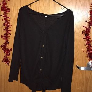 Black Waffle Henley Button Down Blouse